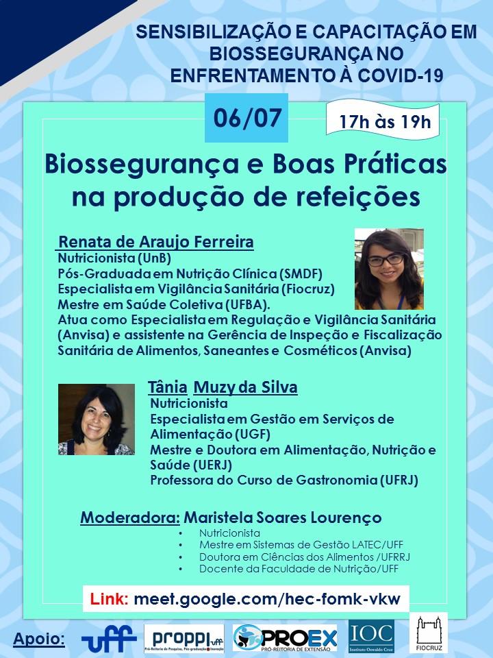 Biossegurança e Boas práticas com Alimentos- 06-07-2020